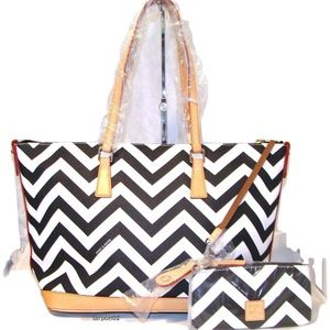 Dooney & Bourke Chevron BLACK+WHITE Tote Bag